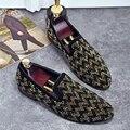 Color mezclado Rhinestone de Otoño Nuevos Hombres de Los Holgazanes de Cuero de Gran Tamaño Zapatos de la boda de Los Hombres Se Deslizan En Oxford Zapatos Planos de Conducción Para hombres