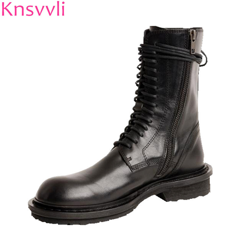 Knsvvli New Lace Up Motorcycle Boots Women Black Genuine Leather Round Toe Casual Autumn Shoes Flat