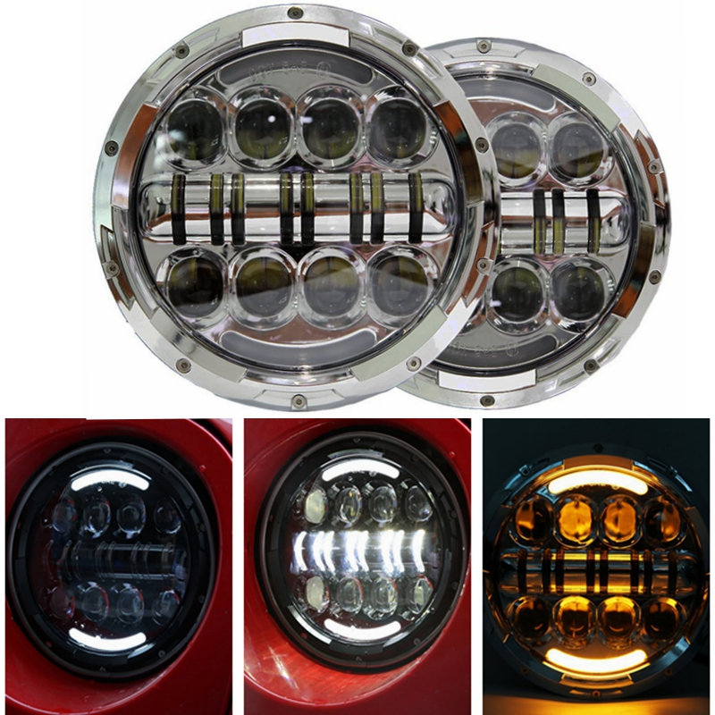 7 Inch Round LED Headlights Sealed Beam Assembly For Jeep Wrangler JK LJ TJ CJ DJ H4 80W Cold White HALO Turn Signal & DRL купить