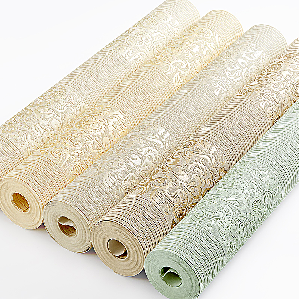 цена на Beige Yellow Embossed Texture Floral Striped Wallpaper Roll For Wall Bedroom Modern Luxury Wall Paper Home Decor Living room