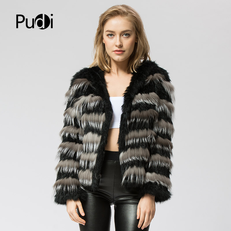 CR050 The New Real Fur Coat Knit Knitted Real Rabbit & Silver Fox Fur Coat Jacket Overcoat Women's Fashion Winter Warm With Hood
