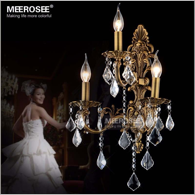 100% Guarantee 3 Lights Crystal Wall Lamp Brass color Wall Sconces Lamp living room lights outdoor lighting Free Shipping|lamp wall bracket|wall sconce|lamp brass - title=