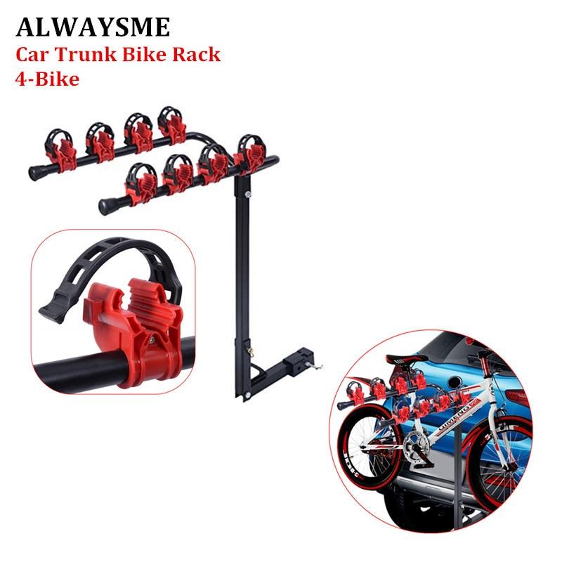 ALWAYSME Heavy Duty 4-Bike Carrier Trunk Mount Stand Bike Rack 3-Bike Carrier Mount Trunk-Mount Hatchback For SUV Car 77x45x10CM