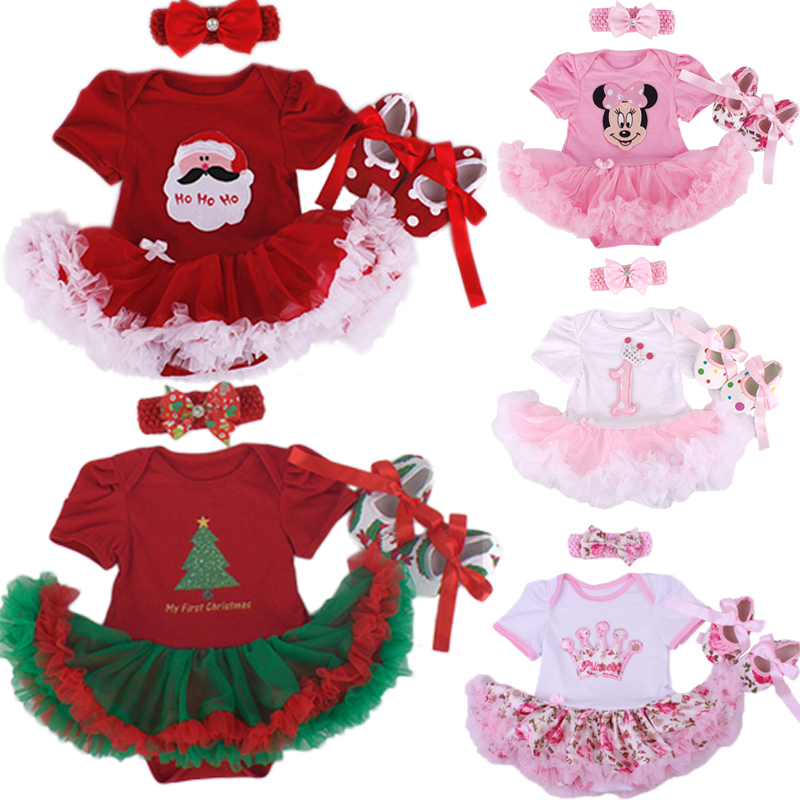 Christmas Baby Girl Infant 3pcs Clothing Sets Suit Princess Tutu Romper Dress/Jumpsuit Xmas Bebe Party Birthday Costumes Vestido 3d love baby girl lace romper dress headband leg warmers crib shoes vestido para bebe newborn tutu sets wedding party clothes