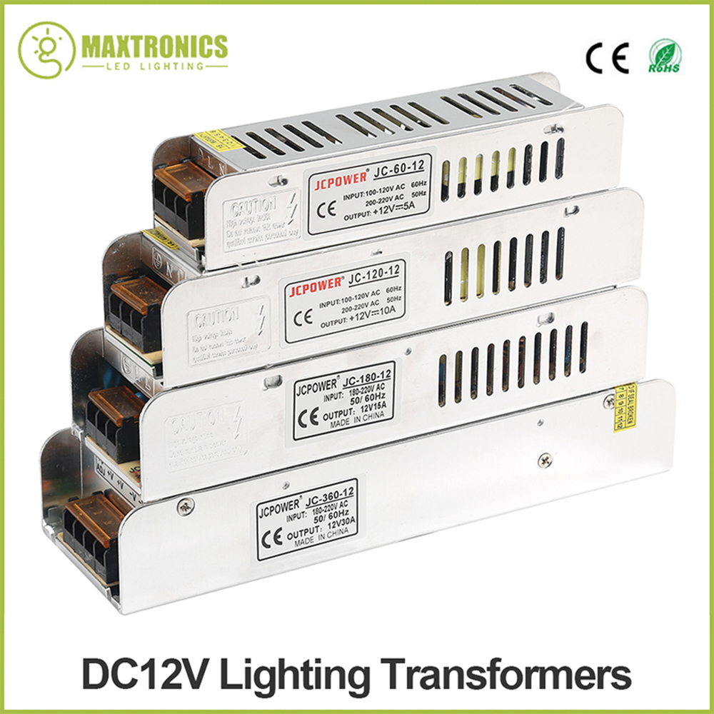 LED Power Supply DC12V 60W 120W 180W 200W 240W 360W LED Driver Power Adapter Lighting Transformers Free shipping