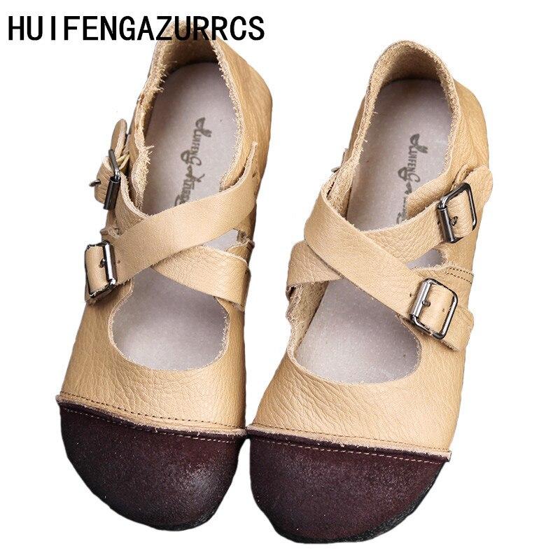 HUIFENGAZURRCS-Japonais Art rétro unique chaussures cuir ronde peu profonde tête fond plat princesse chaussure décontracté chaussures pour femmes