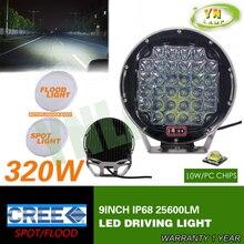 Nueva 320 w 9 inch Negro ronda llevó la luz de conducción, led de luz del camino llevó la luz de trabajo para SUV, ATV, UTV, 4D, 4X4 uso 25600LM