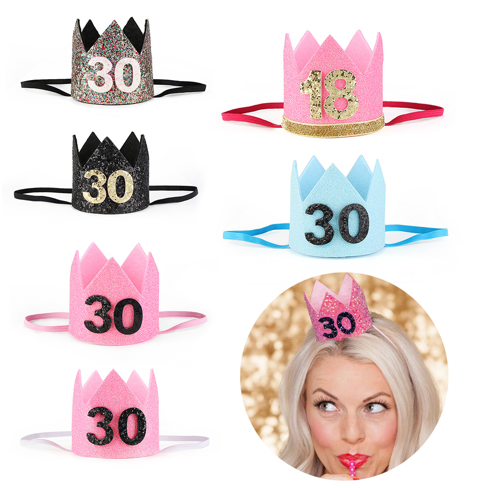 Fashion Women Elastic Headband Birthday Gift 18 Or 30 Years Old Crown Tiara Headwear Ornament Party Hair Accessories