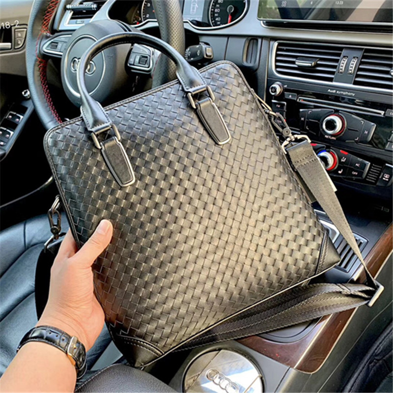 Kaisiludi Leather Woven Men's Bag Vertical Handbag Business Men's Briefcase Double Pull Computer Bag Single Shoulder Oblique Spa