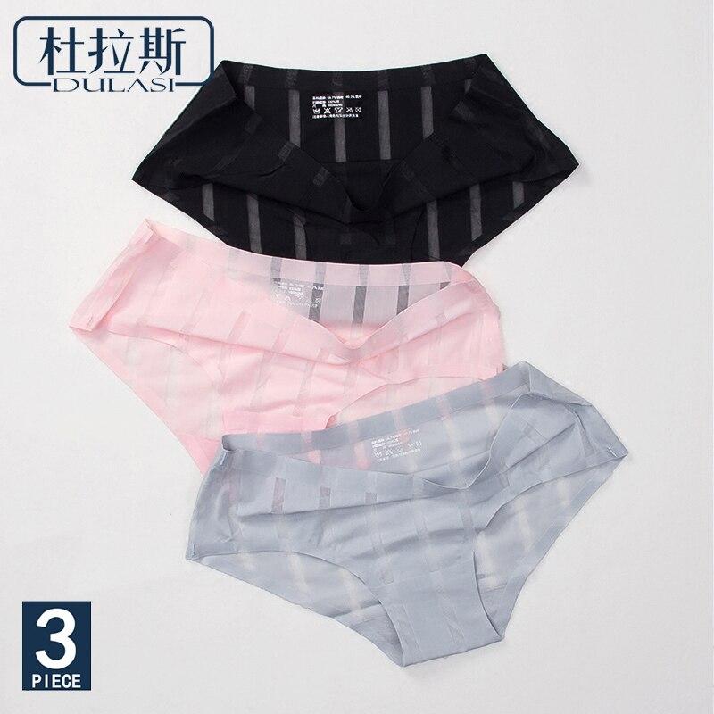 Sexy   Panties   Women Underwear Seamless Briefs Lace Nylon Striped Transparent Cotton Ladies Pants Brand Lingerie DULASI 3pcs lot