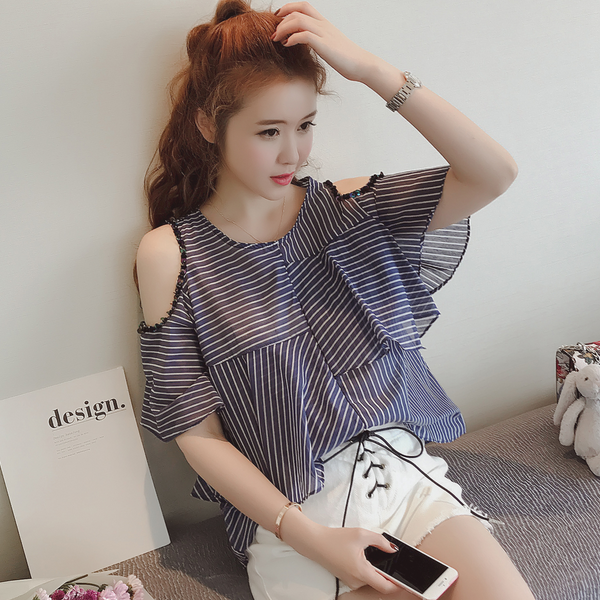 d762a59cc52e5 2018 Direct Selling Hot Sale Blusas Body Women Tops Thin Stripe Tunic  Blouse Open Shoulder Tops Sexy Women Summer Sequins