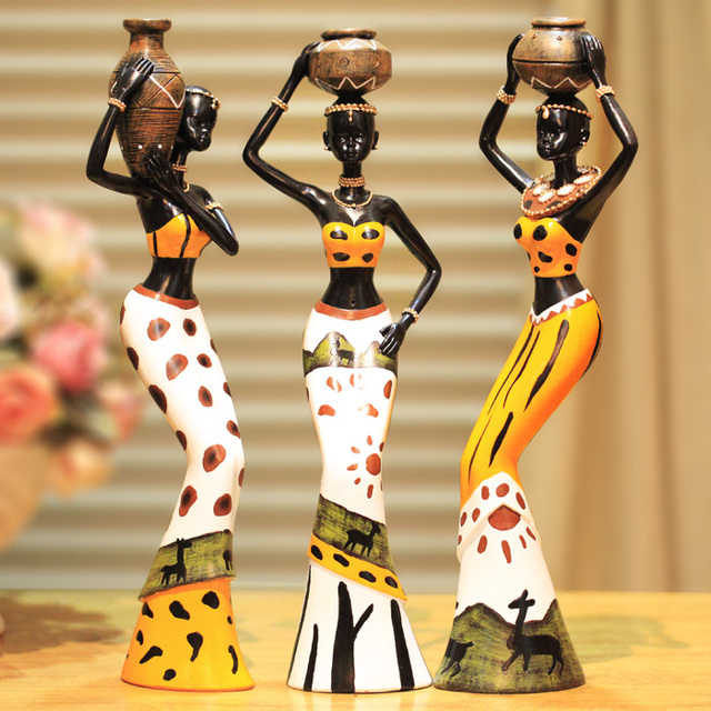 Resin Folk Art Love 3 African Girls Home Decor Resin Figurine Folk Art Love Africa Figurine