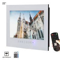 Souria 22 inch Luxury Hotel Waterproof Bathroom Television Home HD Kitchen LED TV Mounting Flat Screen (Black/White)