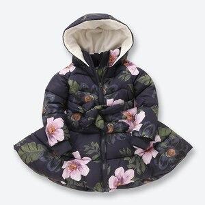Image 5 - ニューキッズ冬のジャケットカジュアルなフード付きジッパー上着女の子コート綿入りプリント子供子供服 2 9 歳