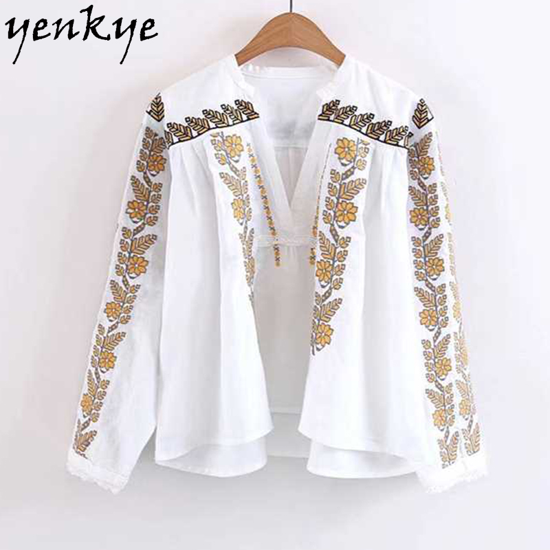 Women Brand Crop Top Wheat Embroidery   Blouse     Shirt   V neck Long Sleeve Plus Size Summer White Tops blusa SDP8285