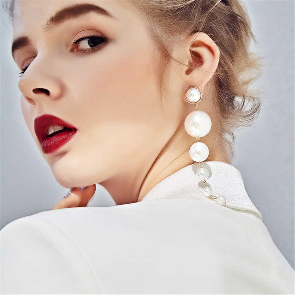 MESTILO European Multiple Big Pearls Chandelier Earrings For Women Fashion Statement Long Drop Earrings Fine Jewelry 2018 Korean