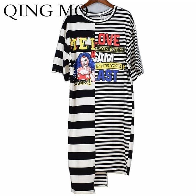QING MO Cartoon Print Dress Women Stripe Short Sleeve T-Shirt Dress Patchwork Irregular Dress Summer Long T-Shirt 2020 ZLD486A