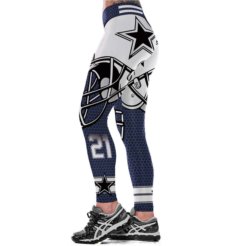 b7d67cd0e090f Dallas Cowboys Logo Fitness Leggings Elastic Fiber Hiphop Party Cheerleader  Rooter Workout Team Pants Trousers Dropshipping
