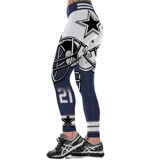 Dallas Cowboys Logo Fitness Leggings Elastic Fiber Hiphop Party