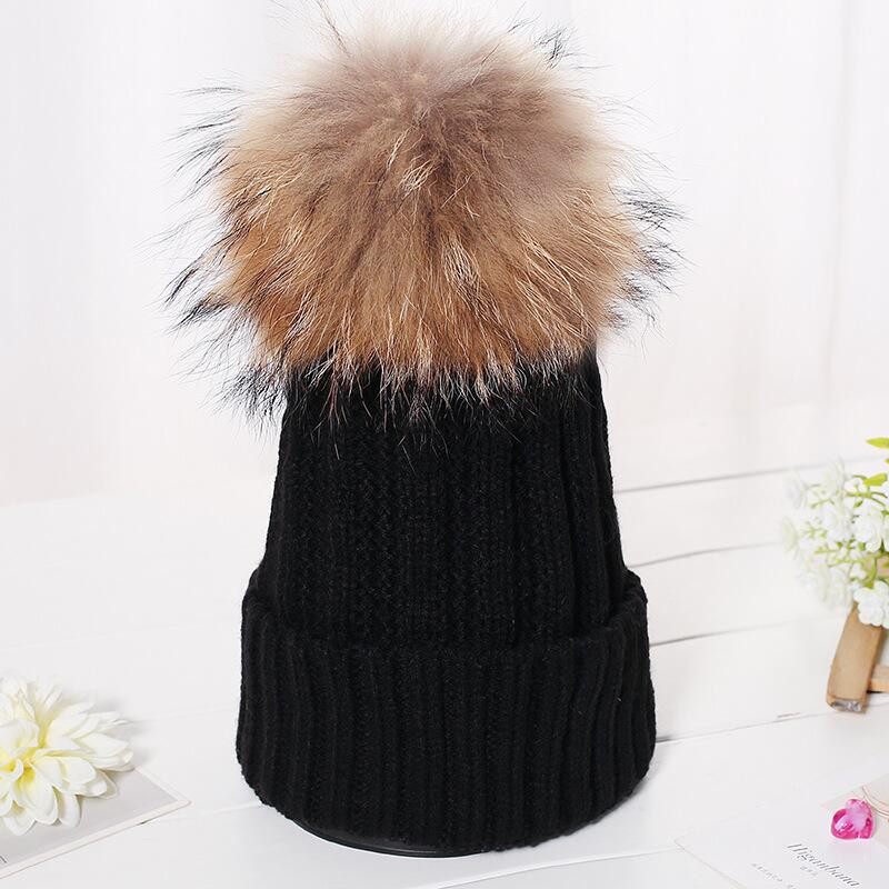winter mink hat and fox fur pom poms ball cap for knitwear women girl hat cap brand new thick female cap new star spring cotton baby hat for 6 months 2 years with fluffy raccoon fox fur pom poms touca kids caps for boys and girls