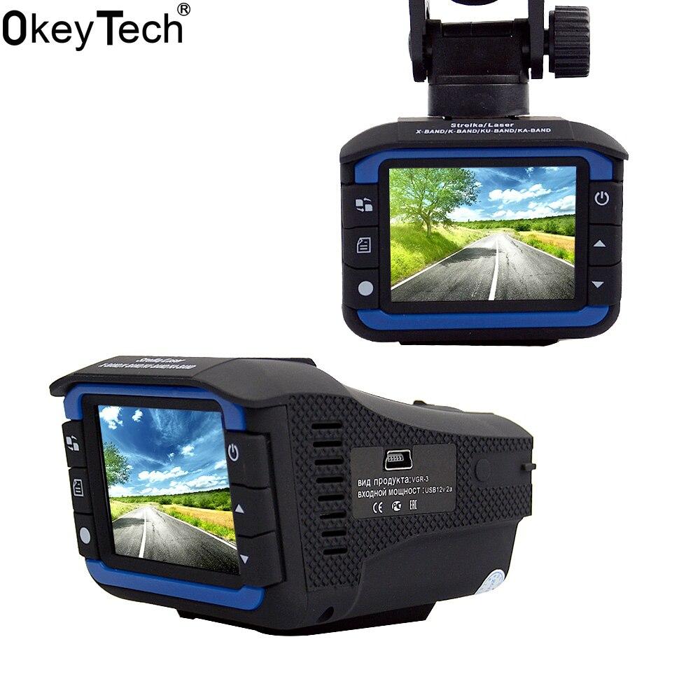OkeyTech 3 en 1 détecteur de Radar de voiture GPS Tracker DVR système d'alarme dispositif d'avertissement 2.0 pouces affichage 140 degrés lentille Version russe