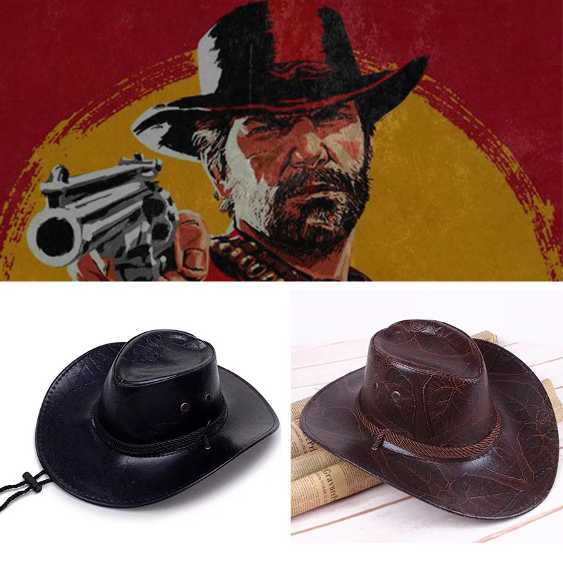 Game Red Dead Redemption 2 <font><b>Cowboy</b></font> <font><b>Hat</b></font> Cosplay Costume Prop <font><b>Hats</b></font> Leather <font><b>Unisex</b></font> image