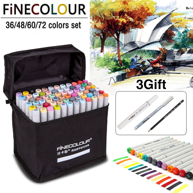 FINECOLOUR 72 Colors Art Markers Alcohol Based Markers Drawing Pen Set Manga Dual Headed Art Sketch Marker Design Pens велосипед eltreco patrol кардан 28 камуфляж 2015