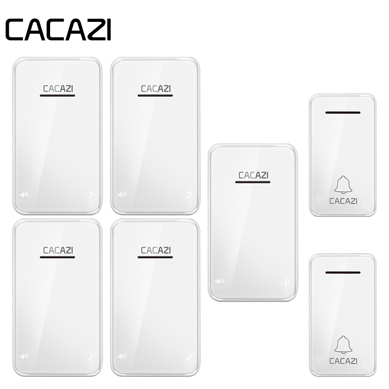 лучшая цена CACAZI Home Wireless Doorbell Self-Powered Waterproof No Need Battery 300M Remote Control LED Light Call Bell 38 Songs 3 Volume