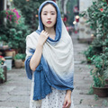 Autumn gradient color stitching  cotton scarves  Female long paragraph to increase warm scarves