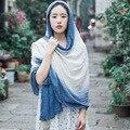Outono gradiente de cor de costura de algodão cachecóis Feminino longo parágrafo para aumentar lenços quentes