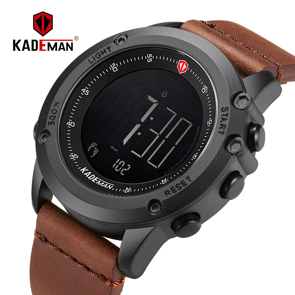 KADEMAN צבאי ספורט גברים של שעון דיגיטלי תצוגה עמיד למים שלב דלפק עור שעון יוקרה למעלה מותג LED זכר שעוני יד