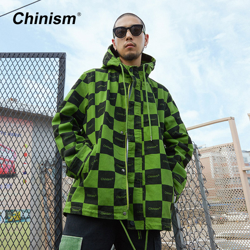 CHINISM Plaid Full Print Hooded Long   Trench   Men Loose American Street Windproof Hip Hop Hoodie Jackets Coats Autumn Winter