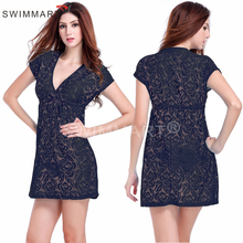 NEW Deep V neck Adjustable tie Casual Loose Pattern Big Plus size Dress Lace M.L.XL VB017