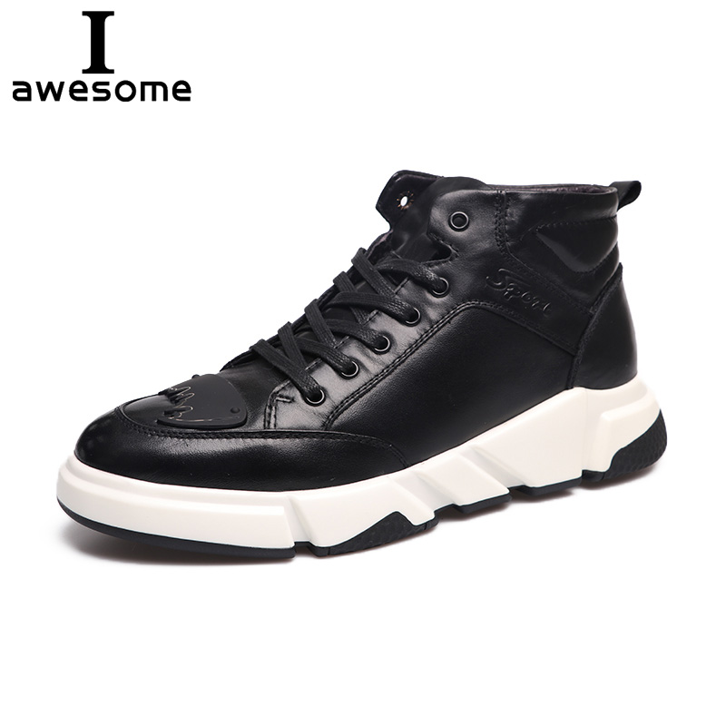 Genuine Leather Men Shoes Men Casual Flat Sneakers New Fashion Ankle Boots For Men High Top Men Walking Shoes Footwear 2081 цена