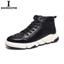 Купить с кэшбэком Genuine Leather Men Shoes Men Casual Flat Sneakers New Fashion Ankle Boots For Men High Top Men Walking Shoes Footwear 2081
