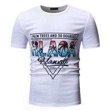 Casual Beach T-Shirt Men Coconut tree print Short sleeve Hawaiian T Shirts Men Tees O-Neck Social Summer Tops Black White цена 2017