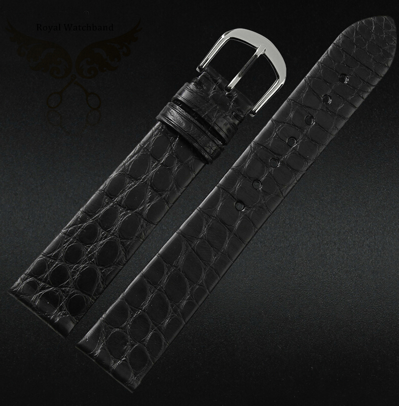 Watch band 18mm 20mm Black Brown Ultrathin Real Crocodile Genuine Leather Watch Strap Gold Deployment Clasp
