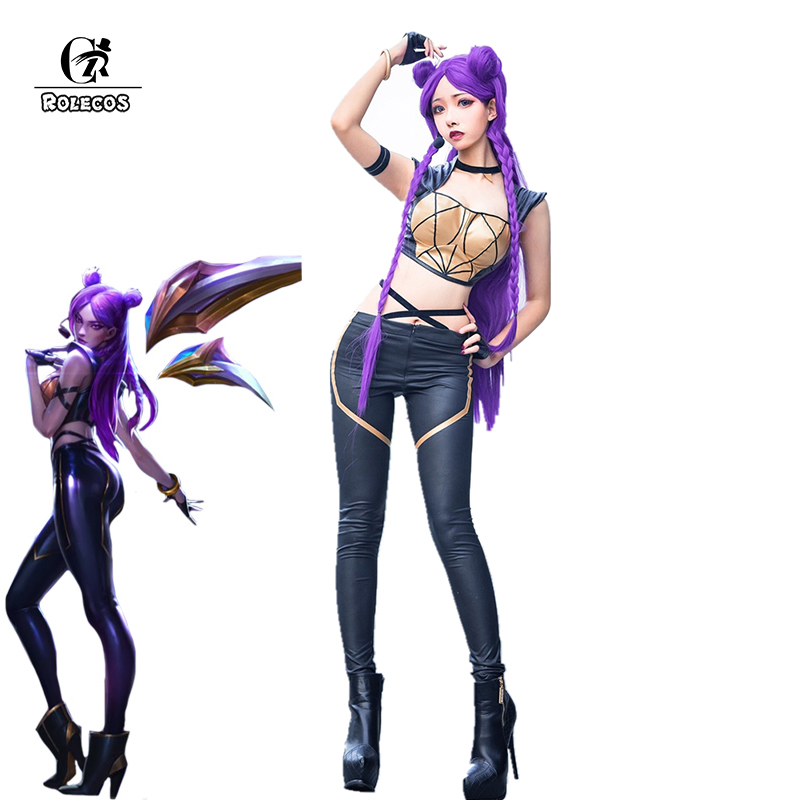 ROLECOS Game LOL K DA Kaisa Cosplay Costume LOL KDA Cosplay Costume Leather Uniform Sexy Costume
