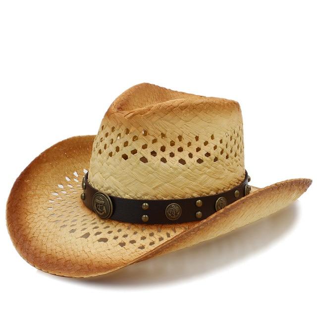 Mulheres da moda Ocidental do Chapéu de Vaqueiro Com Fita de Couro de Moda  Para A e4cf3370bab