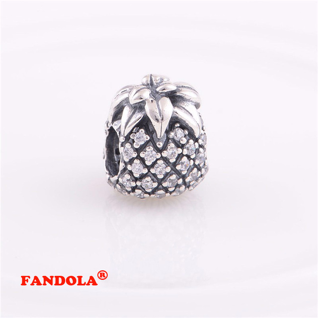 9ff394717 Fits Pandora Charms Bracelet 925 Sterling Silver Beads Sparkling Pineapple  Charm for Women DIY Jewelry Making