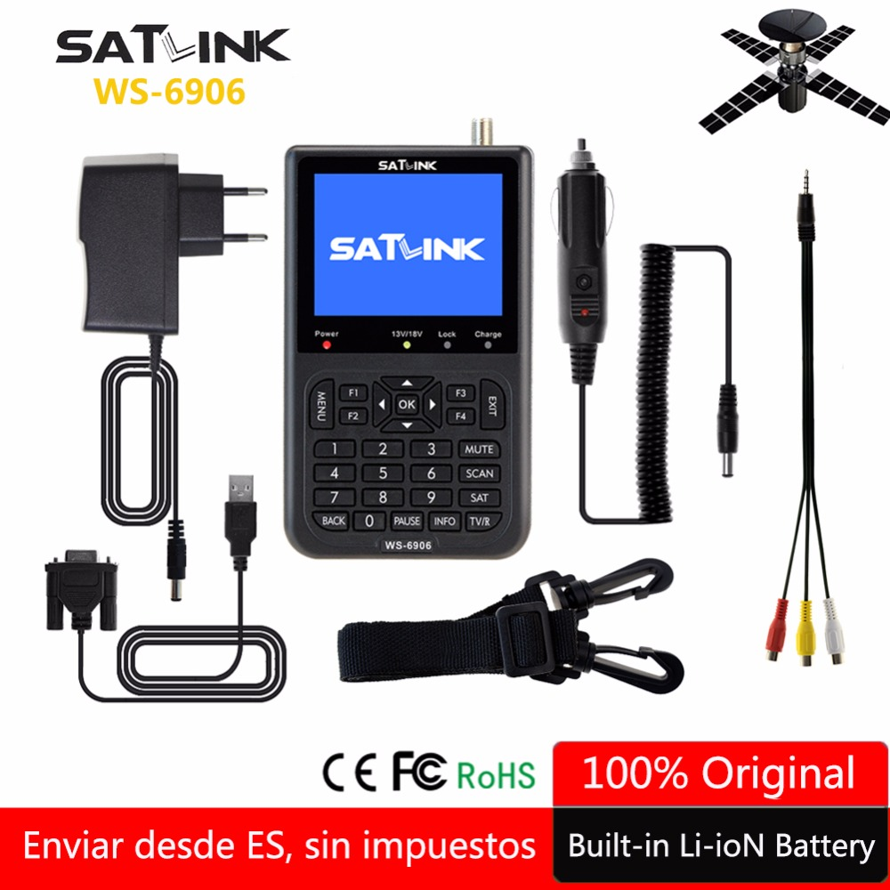 Original Satlink Satellite Finder WS-6906 3.5 Inch LCD Display DVB-S lnb portugal Spain WS 6906 satlink Digital Satellite Finder thani 4 3 inch hd tft lcd screen display for satlink ws 6932 ws 6936 ws 6939 ws 6960 ws 6965 ws 6966 ws 6979 satellite finder