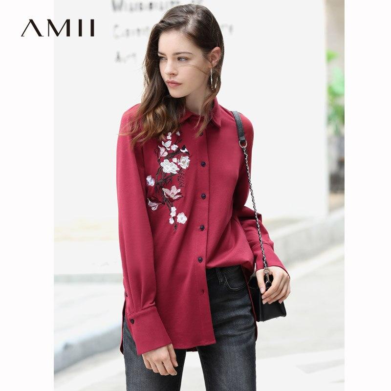 Amii Style chinois broderie Blouse florale femmes 2018 Vintage solide coton col cranté à manches longues femmes chemises coton