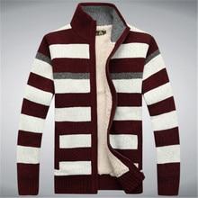 2015 Winter Fleece Thicken Sweater Men 70% Wool Stripe Mens Wool Cardigan sweaters Brand agasalho masculino size M -3XL A0372