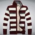 2015 invierno Fleece espesar hombres suéter 70% lanas de la raya de lana para hombre Cardigan suéteres marca agasalho masculino talla M - 3XL A0372
