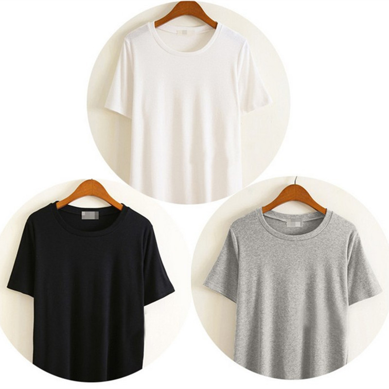 Women's Basic T-shirt Oversized Crew Neck Tee Shirt  Solid Color Short Sleeve Cotton Tops Casual Punk  Clothing Harajuku