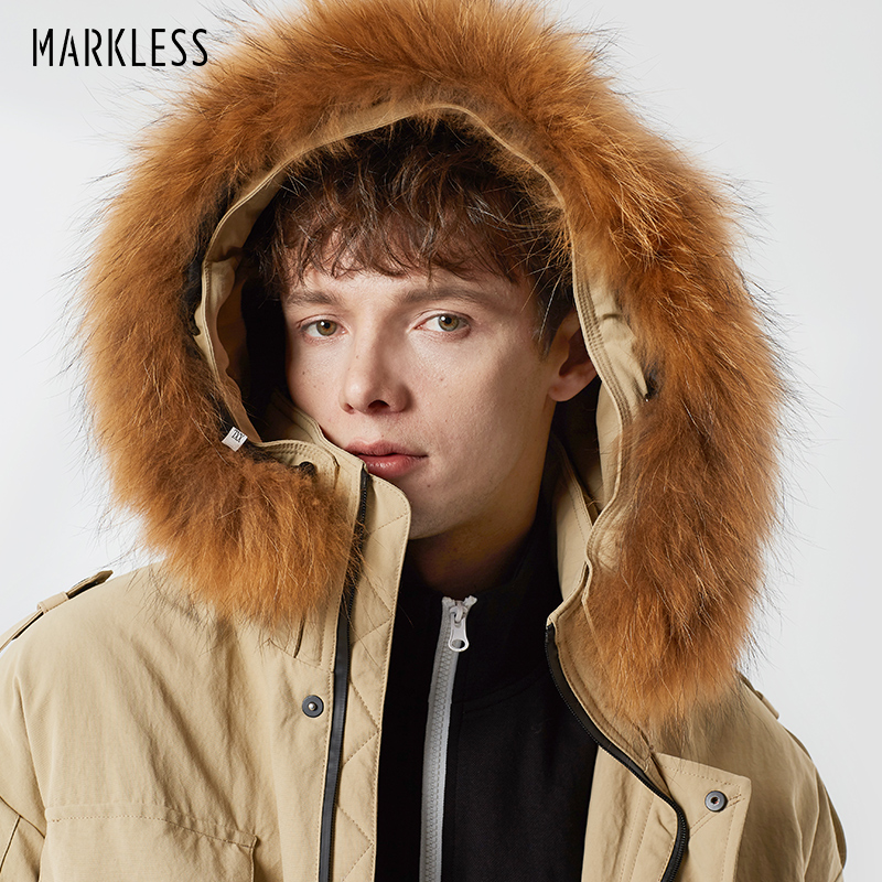 Markless Long Thick 90% White Duck   Down   Men 2018 Winter Warm Hooded Parkas Detachable Raccoon Fur   Down     Coats   YRA8315M