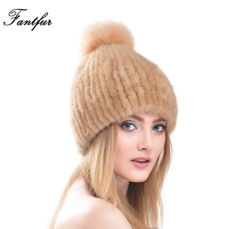 FANTFUR Genuine Mink Fur Hats with Fox Fur Pom Poms Top For Winter Women 2017 New Gigh Quality Luxury Female Knitted Fur Beanies ha117 new stripe autumn winter beanies with big fox raccoon fur pompon genuine mink black brown gray fur hats