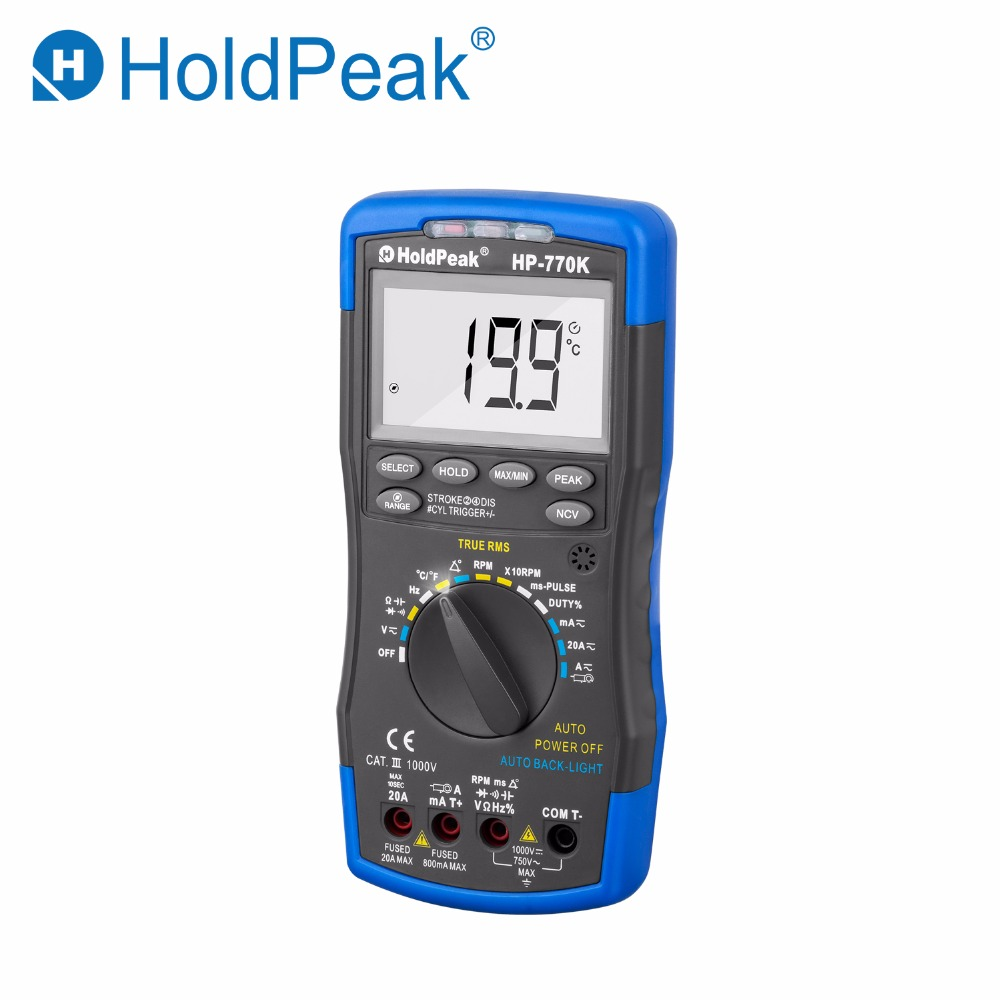 HoldPeak HP-770K Digital Automotive Multimeter car Engine Analyzer Hanhold Tester Diode/HFE/NCV/Continuity Buzzer Measuring Tool holdpeak hp 90k engine analyzer tester auto range car diagnostic tool with data output by usb multimeter multimetro