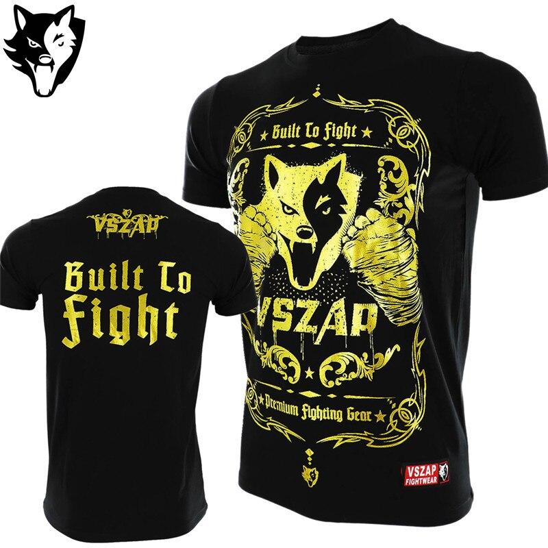 VSZAP Boxing MMA T Shirt Golden Gym Tee Shirt Fighting Fighting Martial Arts Fitness Training Muay Thai T Shirt Men Jiu Jitsu