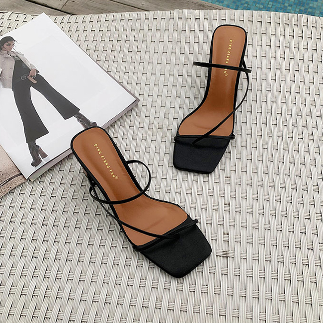 HTB1Wc6ebv1G3KVjSZFkq6yK4XXa3 MONMOIRA Wood Heel Slipper Women's Sandals Vintage Square Toe Narrow Band High Heel Sandals Women Summer Shoes Women SWC0713